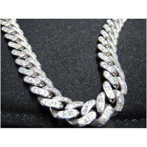 Jewelry - 14k White gold round diamond mens Cuban 7 mm chain